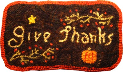 GIVE THANKS rug hooking pattern
