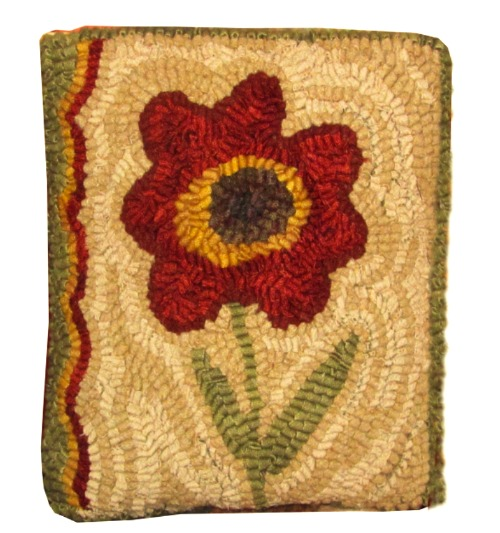 SINGLE RED FLOWER rug pattern